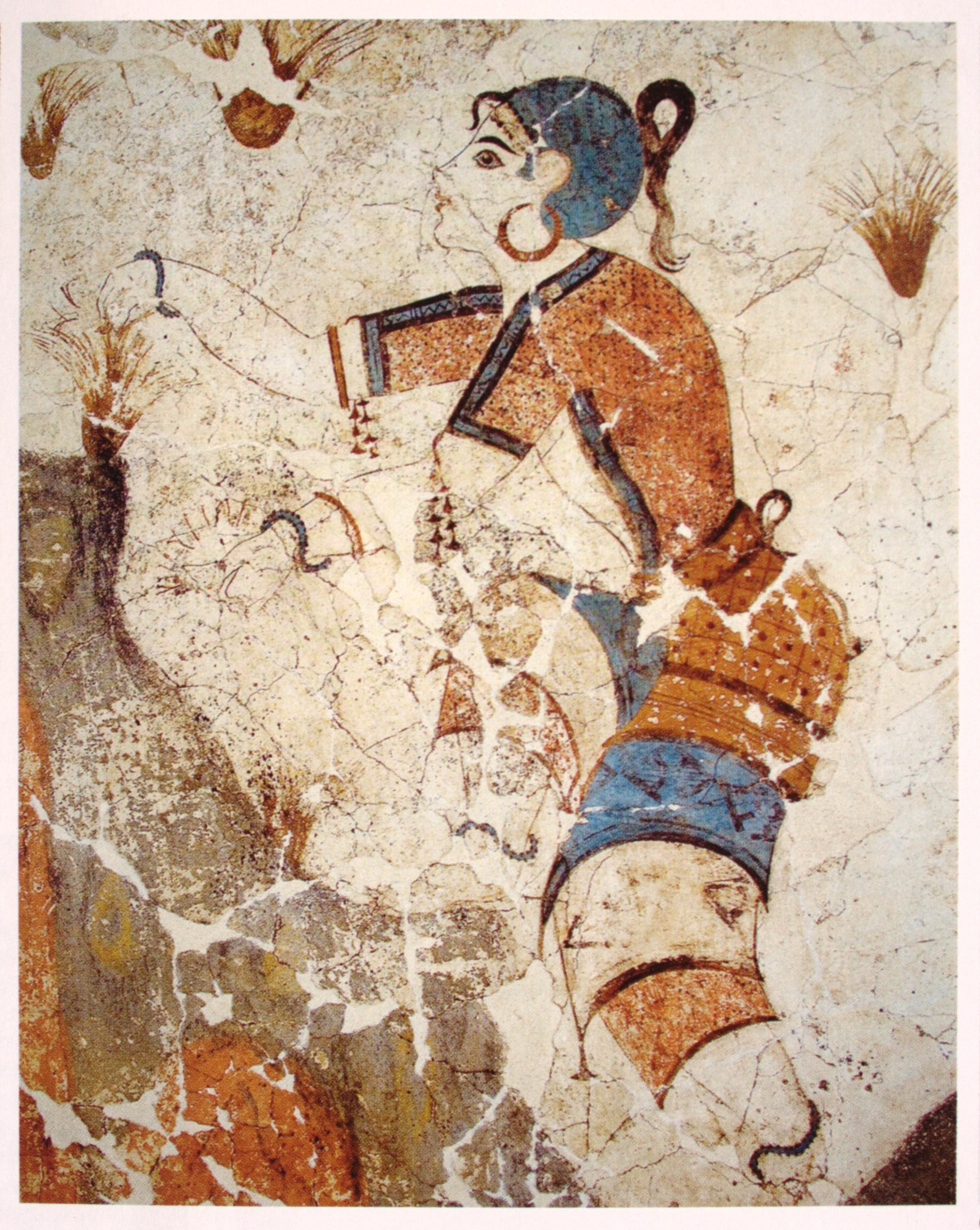 Κροκοσυλλέκτρια. Λεπτομέρεια τοιχογραφίας από την Ξεστή 3, Ακρωτήρι.