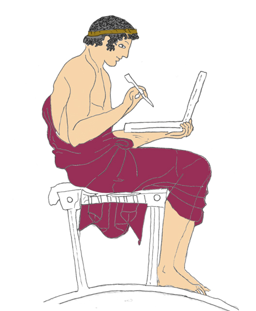 Drawing of figure writing.
