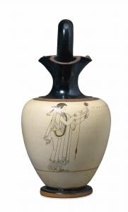 Σκηνή γνεσίματος. Λήκυθος λευκού βάθους, ζωγράφος του Βρύγου. Βρετανικό Μουσείο, c. 490-470 BC. © Trustees of the British Museum.