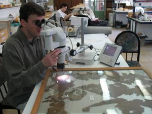 Μελέτη αρχαίου υφάσματος από τους Τράχωνες στο στερεοσκόπιο. Εθνικό Αρχαιολογικό Μουσείο. Φωτογραφία Σ. Σπαντιδάκη.