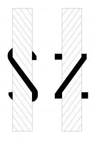 Σχέδιο με τις δυο στρέψεις των μονόκλωνων κλωστών.